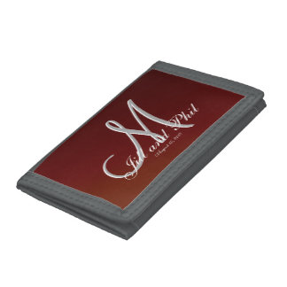 Earth Tone Red 3d Monogram Tri-fold Wallet