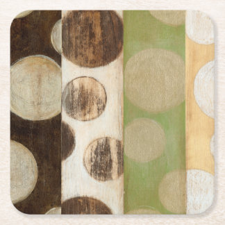 Earth Tone Wood Panel Painting with Circles Square Paper Coaster