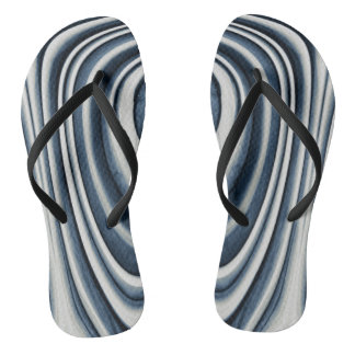 Earth Toned Blue Abstract Pattern Flip Flops