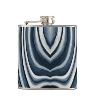 Earth Toned Blue Abstract Pattern Hip Flask