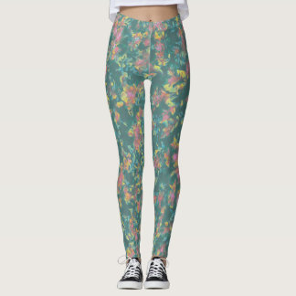 Earth Toned Multi-Color Floral Pattern Leggings