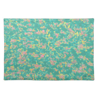 Earth Toned Pink/Green/Yellow Floral Pattern Placemat
