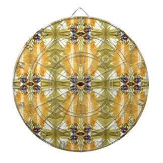 Earth Toned Yellow Green Tribal Pattern Dartboard