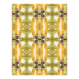 Earth Toned Yellow Green Tribal Pattern Letterhead