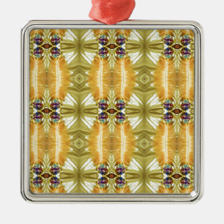 Earth Toned Yellow Green Tribal Pattern Metal Ornament
