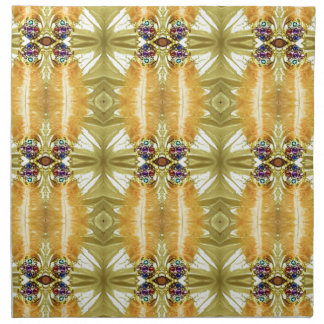 Earth Toned Yellow Green Tribal Pattern Napkin