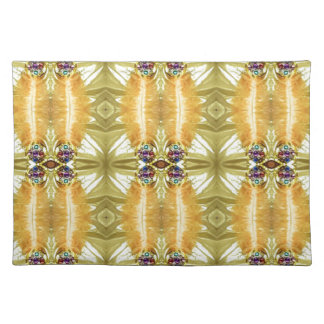 Earth Toned Yellow Green Tribal Pattern Placemat