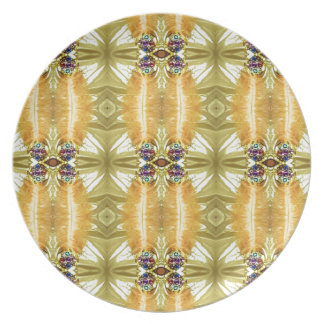 Earth Toned Yellow Green Tribal Pattern Plates