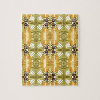 Earth Toned Yellow Green Tribal Pattern Puzzle