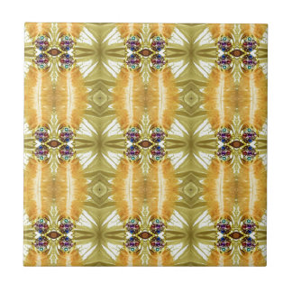 Earth Toned Yellow Green Tribal Pattern Tile