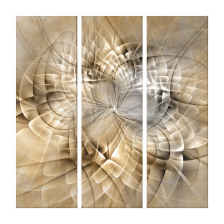Earth Tones Abstract Modern Fractal Art Triptych Canvas Print