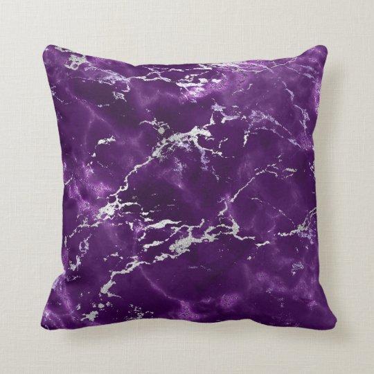 Earth Tones Noir Purple Black Silver Marble Throw Pillow
