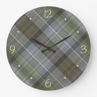 Earth tones plaid pattern large clock