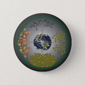 Earth Tree Mandala 2 Inch Round Button