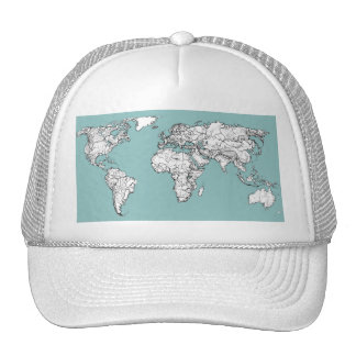 Earth turquoise ink trucker hat