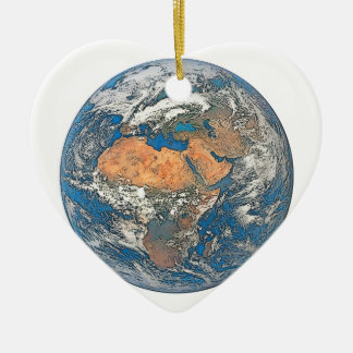 Earth View focused on the Cradle of Civilization Ceramic Heart Ornament