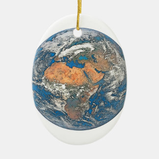 Earth View focused on the Cradle of Civilization Ceramic Oval Ornament