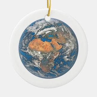 Earth View focused on the Cradle of Civilization Round Ceramic Ornament