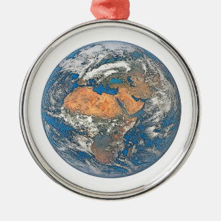 Earth View focused on the Cradle of Civilization Silver-Colored Round Ornament