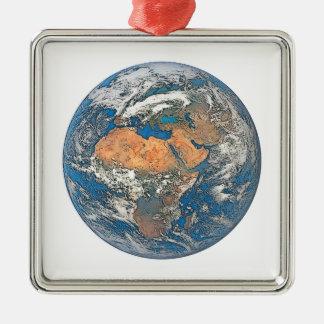 Earth View focused on the Cradle of Civilization Silver-Colored Square Ornament