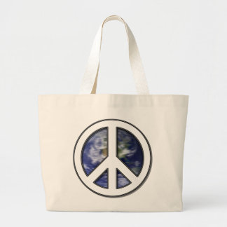 Earth White Peace Sign7 Large Tote Bag