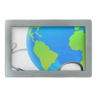 Earth World Globe Stethoscope Health Concept Belt Buckles