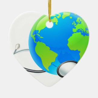 Earth World Globe Stethoscope Health Concept Ceramic Heart Ornament