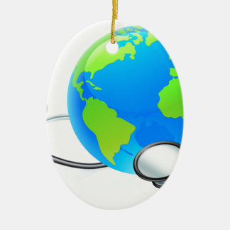 Earth World Globe Stethoscope Health Concept Ceramic Oval Ornament