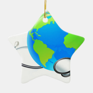 Earth World Globe Stethoscope Health Concept Ceramic Star Ornament