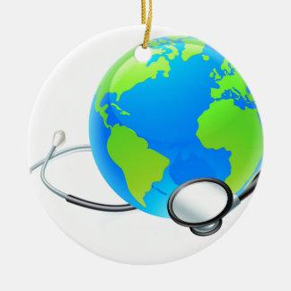 Earth World Globe Stethoscope Health Concept Round Ceramic Ornament