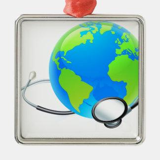 Earth World Globe Stethoscope Health Concept Silver-Colored Square Ornament