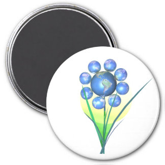 Earthday Flower 3 Inch Round Magnet