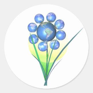 Earthday Flower Round Sticker
