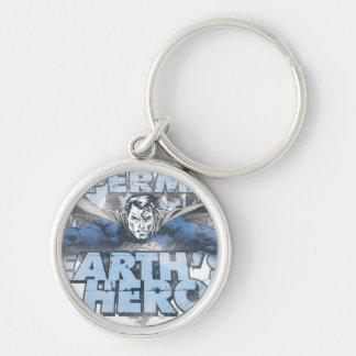 Earth's Hero - Blue Silver-Colored Round Keychain