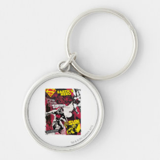 Earth's Hero Silver-Colored Round Keychain
