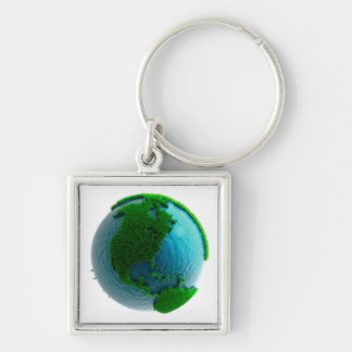 Earth's rotation causes the movement of the time Silver-Colored square keychain