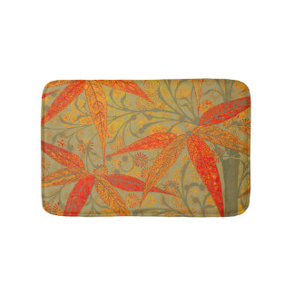 Earthy Bamboo Art Print Illustration Colorful Bathroom Mat