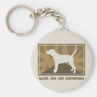 Earthy Black and Tan Coonhound Gifts Basic Round Button Keychain