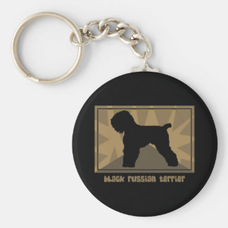 Earthy Black Russian Terrier Keychain