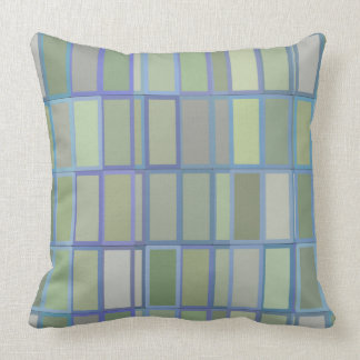 Earthy Blue and Green Geometric Shapes PIllow
