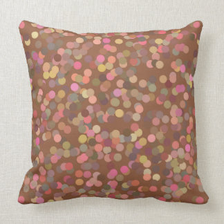 Earthy Brown and Pink Polka Dots Pillow