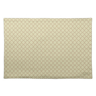 Earthy Brown Quatrefoil on Gold Placemat