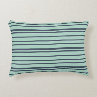 Earthy Deep Blue  and Light Turquoise Stripes Accent Pillow