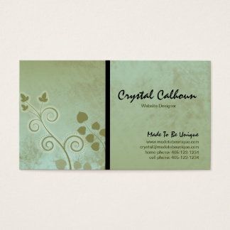 Earthy Green Curly Business Card Template
