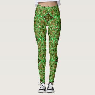 Earthy Green Kaleidoscope ~ Beautiful Reflections Leggings