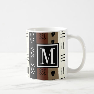 Earthy Mudprint Stripes Pattern Monogram Coffee Mug