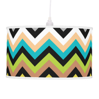 Earthy Multicolor Chevron Pattern Hanging Pendant Lamps