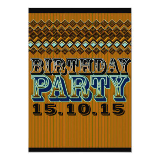 Earthy Pinstripes Vaudeville Birthday Party Card