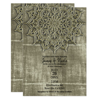 Earthy Rustic Tan Mandala Minimal Wedding Card