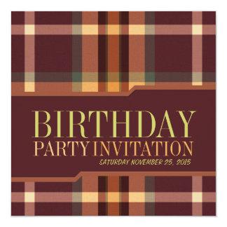 Earthy Tartan Plaids Birthday Party Invitations
